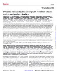 文章解析:通过血液检测的多重分析实现可手术癌症的发现与定位